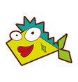 cute fish comic character vector image