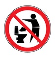 Do not litter in toilet icon 1 vector image vector image