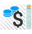 dollar coins flat icon with bonus vector image