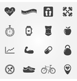 Fitness black icons set vector image
