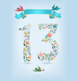 floral number thirteen with ribbon and birds vector image vector image