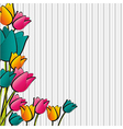 flowers with lines of crayons background lines vector image