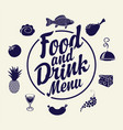 food and drink menu with various dishes vector image