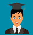 graduating young man in flat style vector image