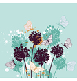 Green decorative background with butterflies vector image vector image