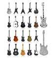 guitar icons vector image vector image