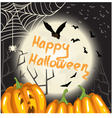 Halloween background with pumpkins moon and bats vector image vector image