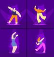 happy dancing people set cartoon flat vector image vector image