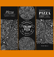 italian pizza banner set hand drawn vector image