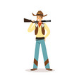 man in american traditional costume with rifle vector image vector image
