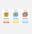 oneboarding app screens cards e-commerce set vector image vector image