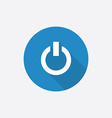 power on Flat Blue Simple Icon with long shadow vector image vector image