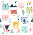 seamless pattern with cute sloths childish vector image