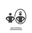 self esteem affirmations glyph icon vector image vector image