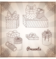 set doodle hand drawing presents and gifts vector image