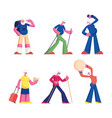 set elderly people workout with dumbbells and vector image vector image