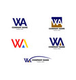set initial letter wa logo template design vector image vector image
