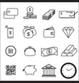 set of money line icon vector image vector image