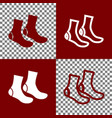 socks sign bordo and white icons and line vector image vector image