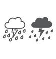 thunderstorm with rain line and glyph icon vector image