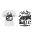 vintage cars garage t-shirt print mockup vector image