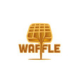 waffle and chocolate melted logo design vector image