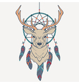 with deer and dream catcher vector image vector image