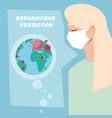 woman with surgical mask protection against