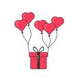 gift box flying on balloons vector image