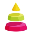 Pyramid divided into three segment layers icon vector image