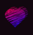 a heart drawn with lines on dark background vector image
