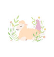 adorable little lamb lying and sleeping on vector image vector image