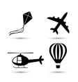 Airplane helicopter air balloon and kite vector image vector image