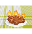 barbecue on a green tablecloth vector image
