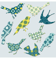 Birds Collection - background tiles vector image vector image