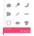 black food icon set vector image vector image