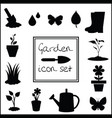black silhouettes of gardening icons set isolated vector image