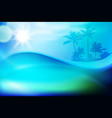 blue water wave and island with palm trees vector image