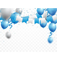 celebrations banner with blue and silver balloons vector image vector image