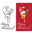 christmas deer with hat on horns vector image vector image