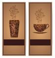 coffee background with floral vector image vector image