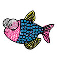 color pencil drawing of fish with big eyes and vector image vector image