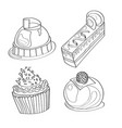 coloring book coloring page cake sweet bakery vector image