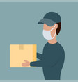 courier in face mask with a box in his hands vector image