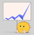 cute cartoon character looking at a blue graph vector image vector image