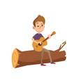 cute cartoon teenage boy sitting on a log and vector image