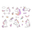 cute unicorn characters with magical things vector image vector image