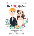 cute wedding card with couple in flower wreath vector image vector image