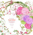 elegant invitation card with beautiful flowers for vector image