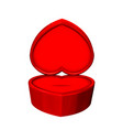 empty red jewelry box in shape of heart vector image vector image
